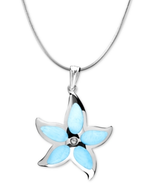 """Larimar Starfish 21"""" & White Topaz Accent Pendant Necklace in Sterling Silver"""