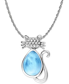 "Larimar and White Sapphire Accent Cat 21"" Pendant Necklace in Sterling Silver"
