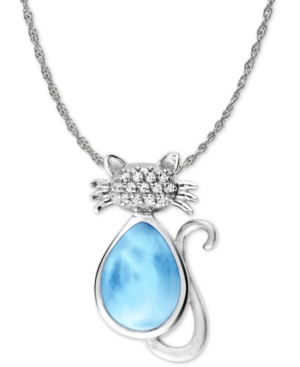 """Larimar and White Sapphire Accent Cat 21"""" Pendant Necklace in Sterling Silver"""