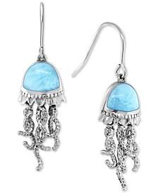 Marahlago Larimar Jellyfish Drop Earrings in Sterling Silver