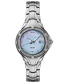Seiko Women's Solar Diamond Collection Diamond-Accent Stainless Steel Bracelet Watch 29mm