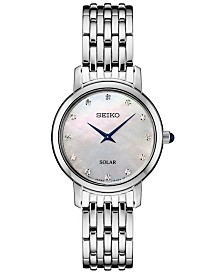 Seiko Women's Solar Diamond Collection Diamond-Accent Stainless Steel Bracelet Watch 30mm
