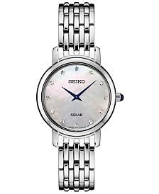 Seiko Women's Solar Diamond Collection Diamond-Accent Stainless Steel Bracelet Watch 30mm