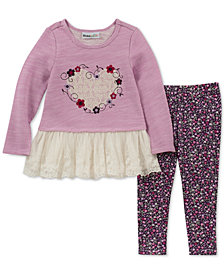 Kids Headquarters Baby Girls 2-Pc. Heart & Lace Tunic & Printed Leggings Set