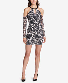 GUESS Cold-Shoulder Lace Bodycon Dress