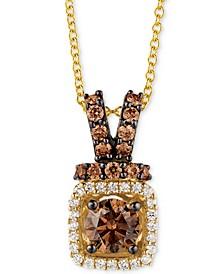 "Chocolatier® Diamond Halo 18"" Pendant Necklace (3/4 ct. t.w.) in 14k Gold"