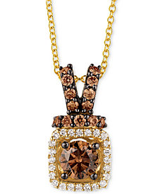 "Le Vian Chocolatier® Diamond Halo 18"" Pendant Necklace (3/4 ct. t.w.) in 14k Gold"