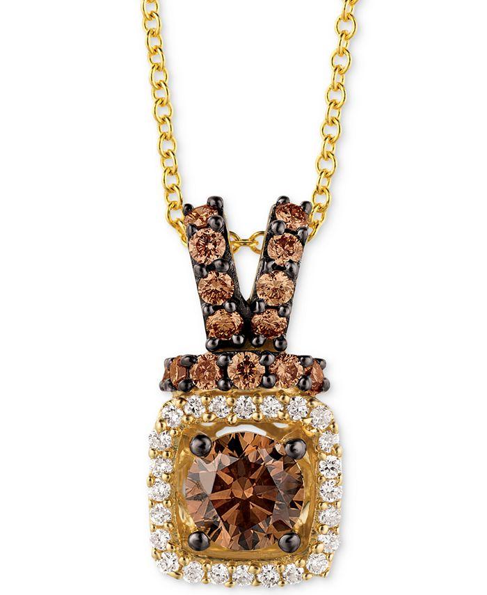 "Le Vian - Diamond Halo 18"" Pendant Necklace (3/4 ct. t.w.) in 14k Gold"