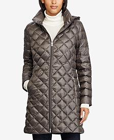 Lauren Ralph Lauren Hooded Diamond Quilted Packable Down Puffer Coat