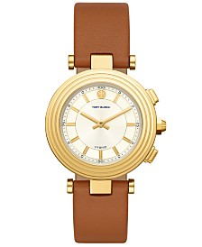 Tory Burch Women's Classic T Luggage Leather Strap Hybrid Smart Watch 36mm