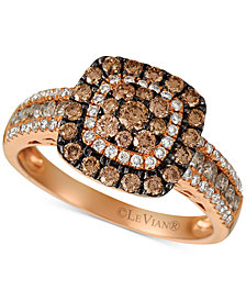 Le Vian Chocolatier® Diamond Halo Cluster Ring (1-1/10 ct. t.w.) in 14k Rose Gold