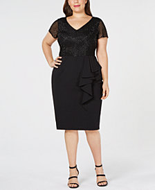 Adrianna Papell Plus Size Ruffled Beaded Sheath Dress