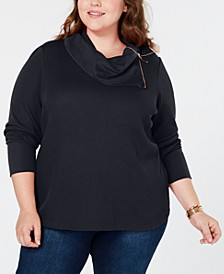 Plus Size Zip-Neck Thermal, Created for Macy's