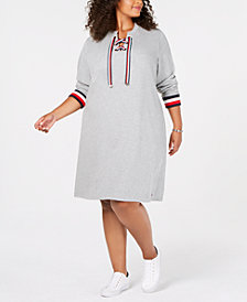 Tommy Hilfiger Plus Size Striped-Trim Sweatshirt Dress, Created for Macy's