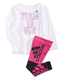 adidas Little Girls Win-Print T-Shirt & Colorblocked Leggings