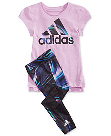 adidas Little Girls Logo-Print T-Shirt & Printed Leggings