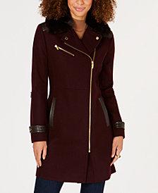 Via Spiga Asymmetrical Faux-Fur-Collar Coat