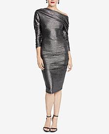 RACHEL Rachel Roy Metallic Ruched Sheath Dress