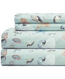 Coastal Embroidered 4-Pc. California King Sheet Set