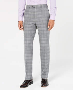 1930s Mens High Waisted Pants, Wide Leg Trousers Sean John Mens Classic-Fit Stretch Light Gray Plaid Suit Pants $39.99 AT vintagedancer.com