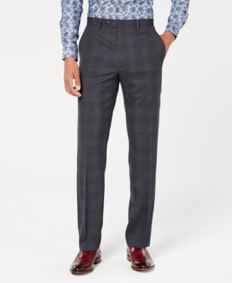 Men's Classic-Fit Stretch Gray/Blue Plaid Suit Pants