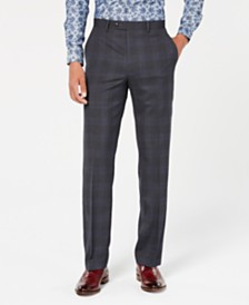 Sean John Men's Classic-Fit Stretch Gray/Blue Plaid Suit Pants