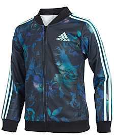 adidas Big Girls Floral Glow-Print Tricot Jacket