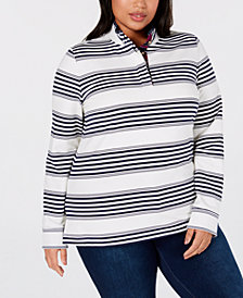 Charter Club Plus Size Striped French Terry Henley, Created for Macy's