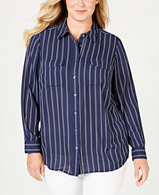 Charter Club Plus Size Striped Shirt, Created for Macy's