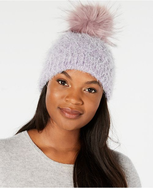 feef92bd76b Echo Fuzzy Cable-Knit Pom Pom Hat