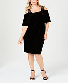 Alex Evenings Plus Size Cold-Shoulder Velvet Dress