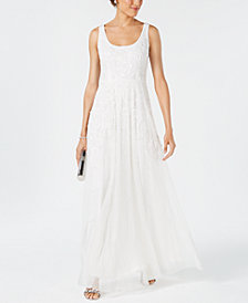Adrianna Papell Scoop-Neck Beaded Trellis Gown