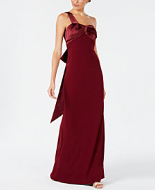 Adrianna Papell Bow-Embellished One-Shoulder Gown