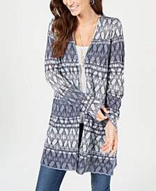 Style & Co Printed Long Cardigan Sweater, Created for Macy's