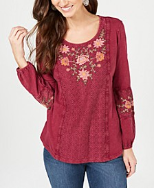 Petite Embroidered Peasant Top, Created for Macy's