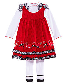 Blueberi Boulevard Baby Girls 3-Pc. Red Ladybug Jumper, Shirt & Tights Set