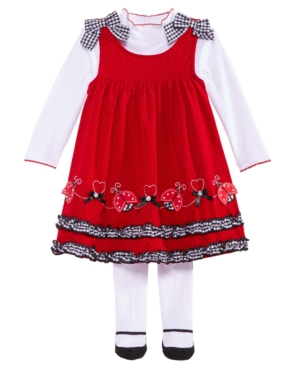 Blueberi Boulevard Baby Girls 3Pc Red Ladybug Jumper Shirt  Tights Set