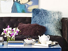 Lamb Fur Pillow, Purple