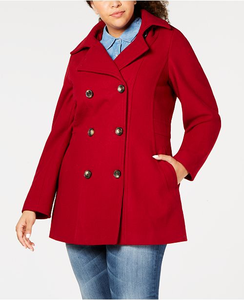 b44d292cfa8da Nautica Plus Size Hooded Double-Breasted Peacoat   Reviews ...