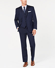 Club Room Men's Classic-Fit Stretch Navy Twill Vested Suit, Created for Macy's