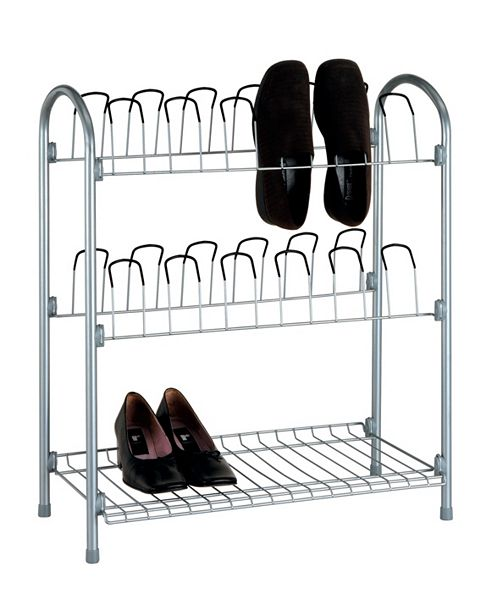 Organize it All 12 Pair Shoe Rack with Shelf