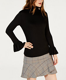 Trina Turk Flared-Sleeve Turtleneck Top