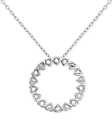 "Diamond Circle Heart 18"" Pendant Necklace (1/10 ct. t.w.) in Sterling Silver"