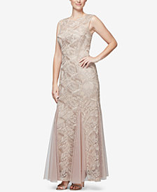 Alex Evenings Petite Embroidered Sleeveless Gown