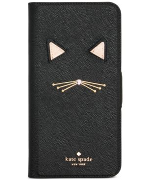Kate Spade New York Cat Applique Iphone 8 Plus Folio Case, Black Multi