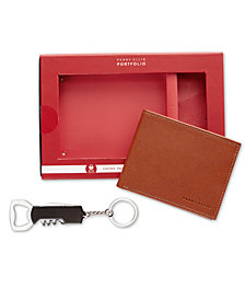Perry Ellis Men's Smooth Leather Wallet & Corkscrew Keychain