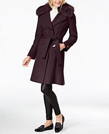T Tahari Faux-Fur-Trim Belted Wrap Coat