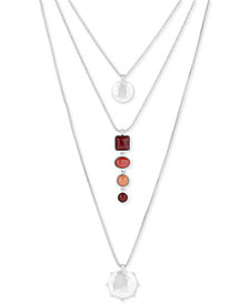 "Lucky Brand Silver-Tone Disc & Stone 18"" Triple-Layer Necklace"