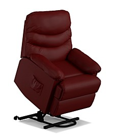Power Recline and Lift Wall Hugger Chair in Burgundy Red PU