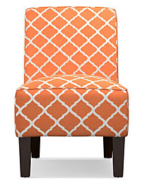 """Bryce Armless Accent Chair in Orange Trellis"""